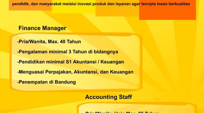 Lowongan Manajer Keuangan dan Staf Akuntansi