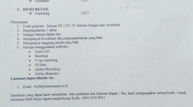 Lowongan Kerja Arsitektur PT.Interni Asia