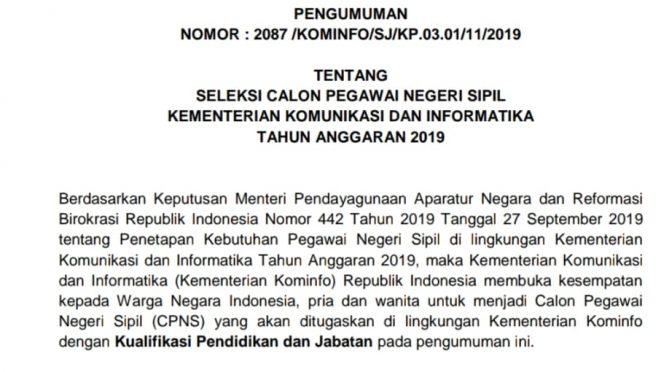 Lowongan Penerimaan CPNS KEMENTERIAN KOMUNIKASI DAN INFORMATIKA REPUBLIK INDONESIA 2019