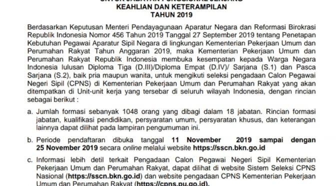 Lowongan Penerimaan CPNS KEMENTERIAN PEKERJAAN UMUM DAN PERUMAHAN RAKYAT REPUBLIK INDONESI 2019