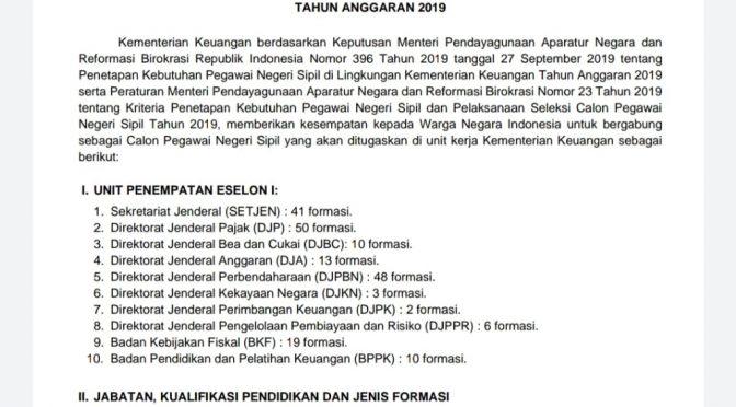 Lowongan Penerimaan CPNS Kementerian Keuangan Republik Indonesia 2019
