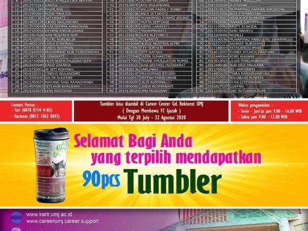 Info Nama-nama yang terpilih mendapatkan Tumbler TRACER STUDY  2020 Universitas Muhammadiyah Jakarta (Lulusan Tahun 2018)