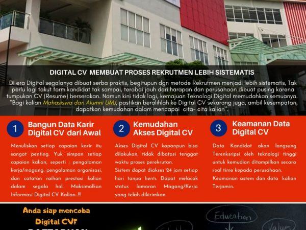 DIGITAL CV MEMBANTU ANDA MEMPERSIAPKAN MASA DEPAN DAN MEMPERMUDAH MENGAJUKAN LAMARAN KERJA !!!