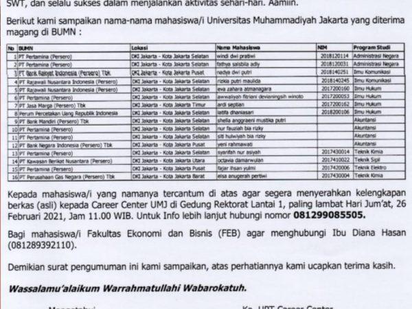 Pengumuman Nama-Nama Mahasiswa/i Universitas Muhammadiyah Jakarta yang diterima MAGANG BUMN 2021